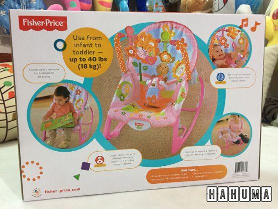 Quà đầy tháng cho bé gái là ghế rung màu hồng fisher Price
