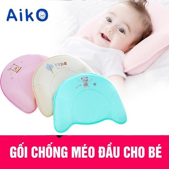 Gối chống méo đầu cho bé sơ sinh cao su non Aiko